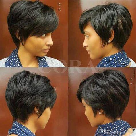 bob cut wigs african americans layered short pixie cut human brazilian hair bob wig