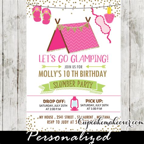Halloween Party Decoration Ideas by Slumber Party Invitations Pink Glamping Tent Sleepover Birthday Cupcakemakeover