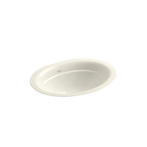 shop kohler serif biscuit cast iron undermount oval bathroom sink at lowes