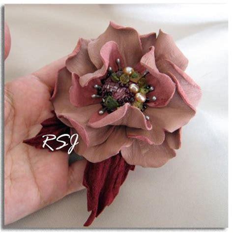 fiore rosalba spilla fiore di pelle rosalba gioielli spille