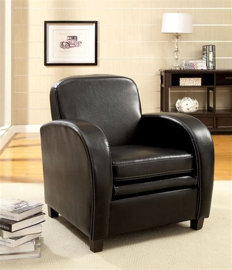Black Leather Accent Chair by Lugano Black Leather Padded Modern Accent Chair