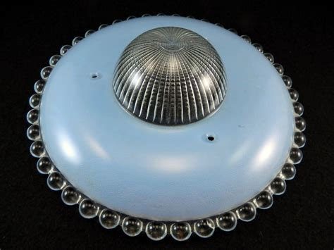 Vintage Art Deco Blue Glass 3 Chain Flying Saucer Ceiling 3 Chain Ceiling Light Fixture