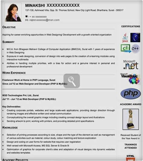 visual resume templates for freshers visual resume sles visual resume templates visual