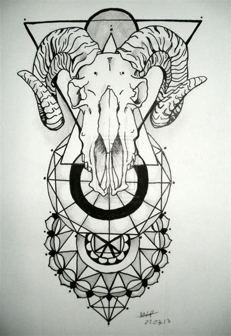 geometric goat tattoo geometric and goat skull tattoo design