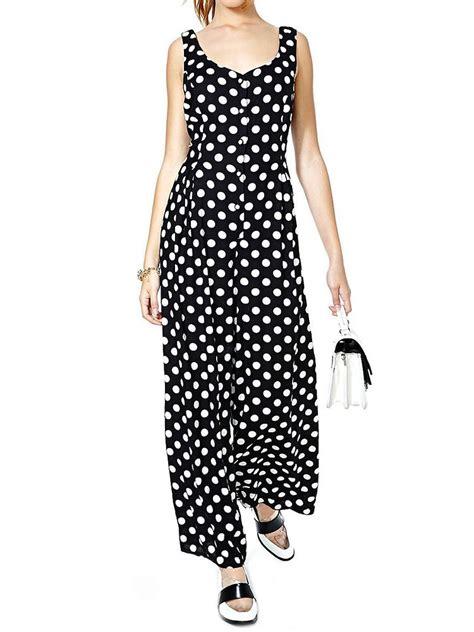 Back Bow Tie Jumpsuit black white polka dots back bow tie wide leg jumpsuit
