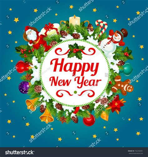 happy new year card vector happy new year greeting card design stock vector 742250491