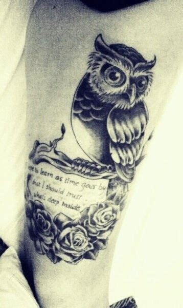 owl tattoo with quote owl and quote tattoo tattoo s pinterest tat de hibou