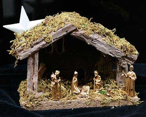 miniature moss covered wooden nativity manger christmas