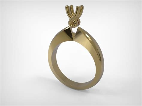 engagement type ring golden jewelry 3d model 3d printable