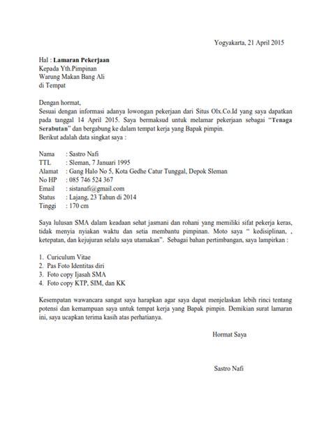 Surat Lamaran Pekerjaan Docx by Contoh Surat Lamaran Kerja Serabutan Ben