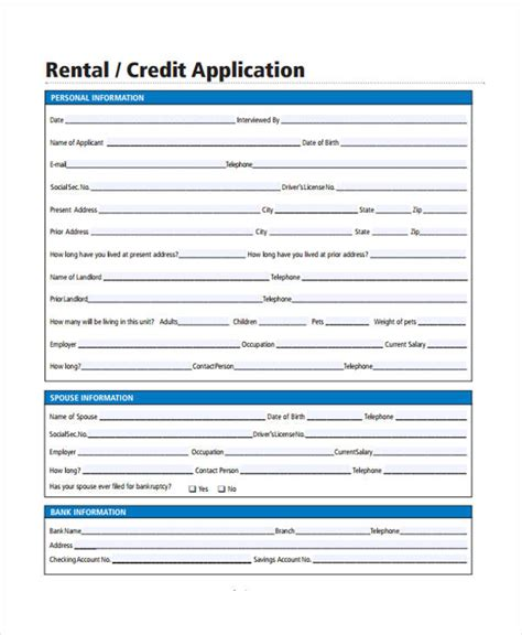 Sle Rental Credit Application Form 26 Free Rental Application Forms