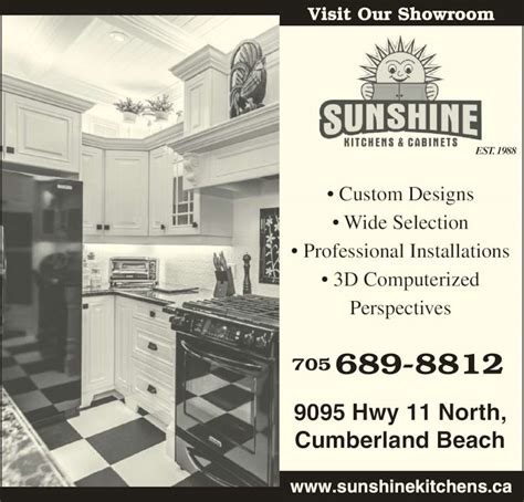 kitchen cabinet advertisement sunshine kitchens cabinets cumberland beach on 9095