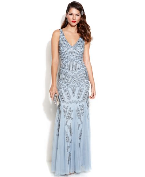 blue beaded dress papell sleeveless beaded mermaid gown in blue lyst