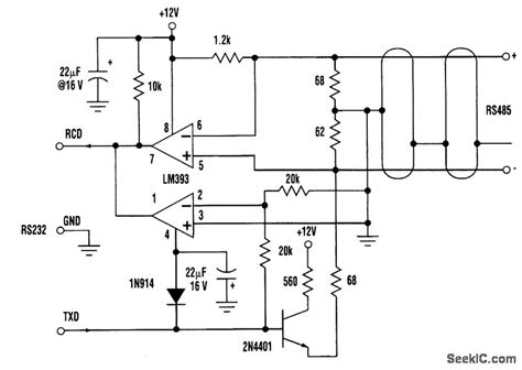 rs232 to rs485 converter circuit diagram three wire rs232 to rs485 converter basic circuit