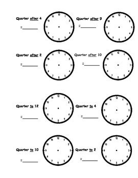 clock worksheets quarter after telling time worksheets o clock half past quarter to