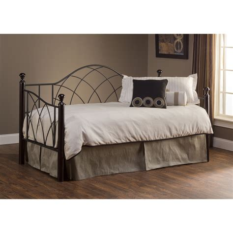 Furniture Iron Day Bed With Trundle Using Striped Bedding Day Bed For