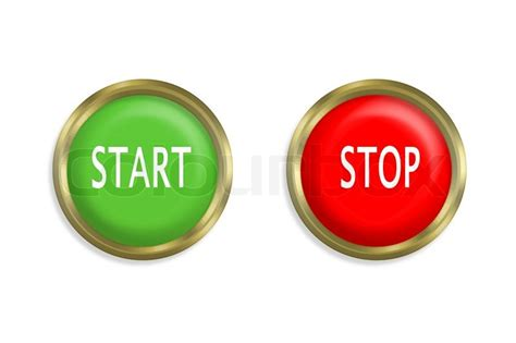 Start To Colour 2 start and stop button on white background stock photo