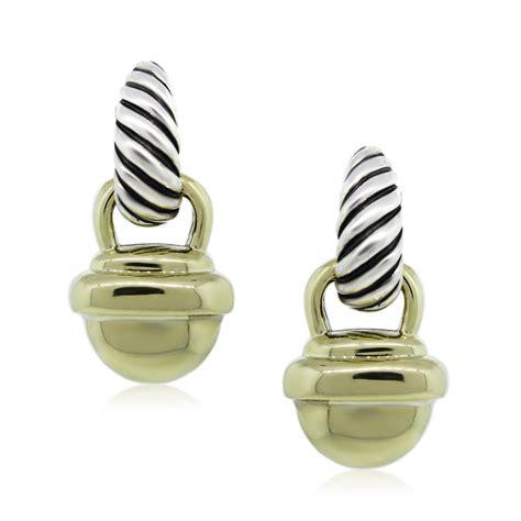 david yurman two tone acorn cable drop dangle earrings