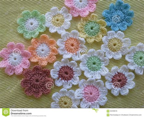 Handmade Crochet Flowers - handmade crochet flowers stock photo image 62238516