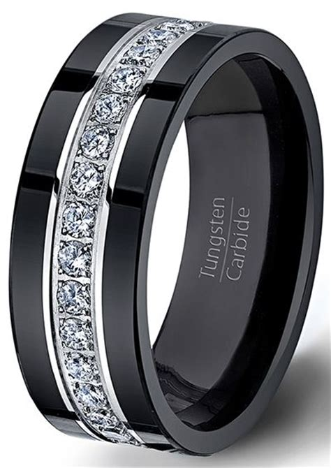 black tungsten ring fully stacked with brilliant