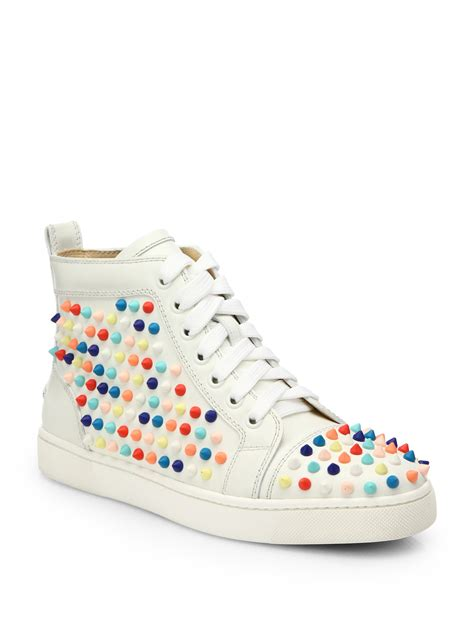 christian louboutins sneakers christian louboutin louis studded leather wedge