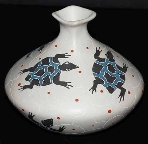 Handmade Mexican Pottery - jorge corona guillen handmade black turtle vase mexican
