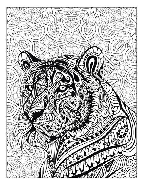 tiger mandala coloring pages zen tiger animal art page to color zentangle animal