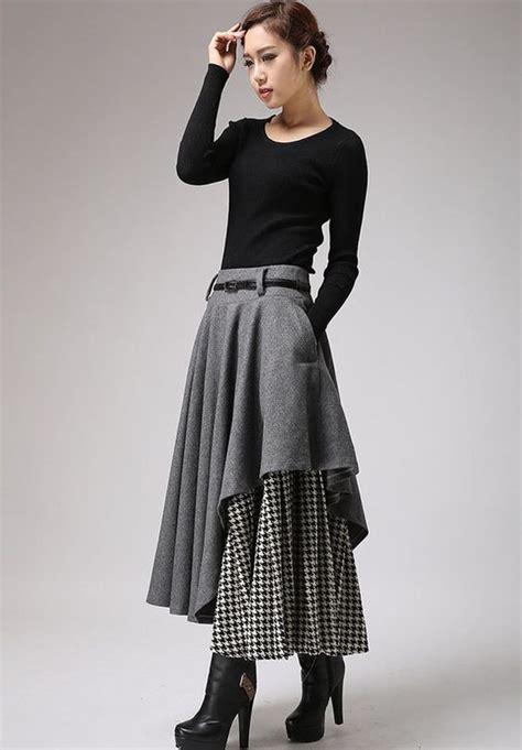 White Shirt Layer Houndstooth gray skirt tea length skirt warm winter skirt