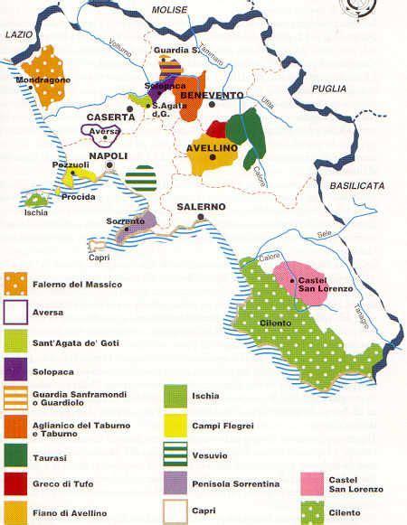 campania zone  zone  produzione vini  vino mappa vino