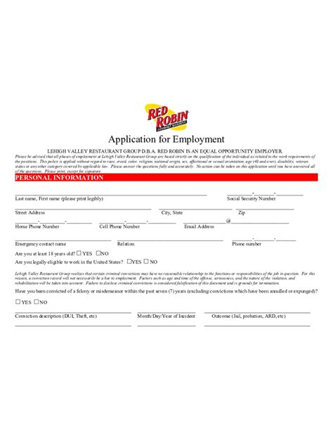 printable job application for red robin red robin job application whitneyport daily com