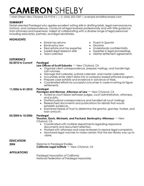 paralegal resume example law sample resumes livecareer