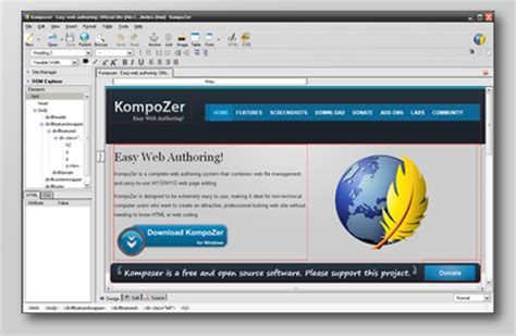 kompozer web design html editor kompozer easy web authoring