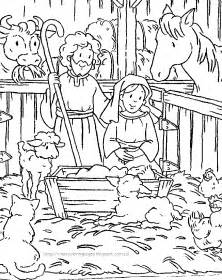 nativity colouring pages 2