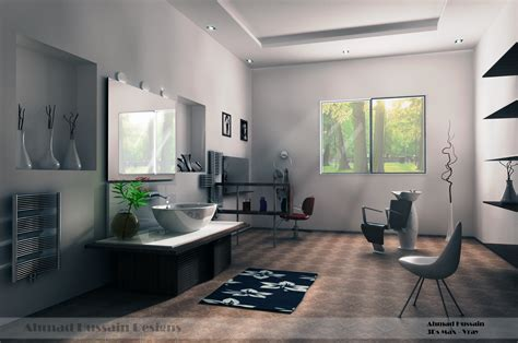 simple beauty salon interior design by iraqi artist on