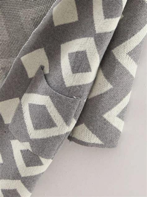 grey diamond pattern grey diamond pattern hooded cardigan with pockets shein
