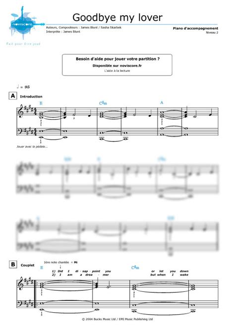 tutorial piano goodbye my lover partition piano goodbye my lover james blunt