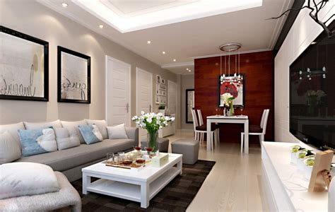 White Living Room And Dining Room Pastoral Style Living Dining Room Interior Design With