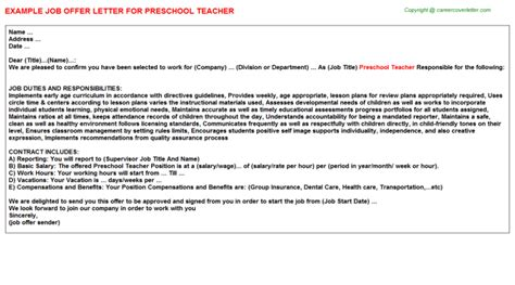 appointment letter for a preschool preschool offer letter sle
