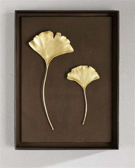 teal  gold leaves wall art