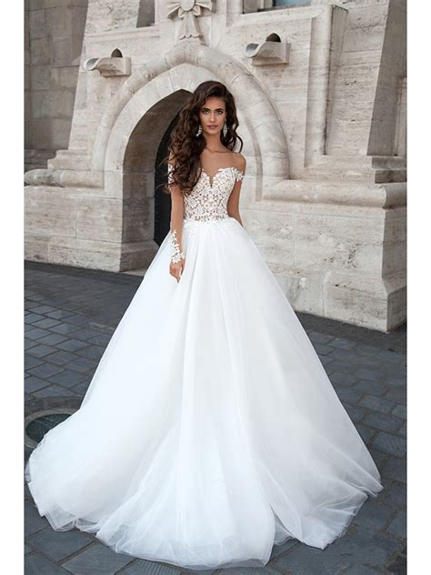 Shoulder Lace Wedding Dress a line the shoulder lace bodice wedding dresses bridal