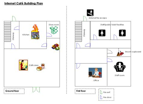 internet cafe floor plan fire prevention booklet