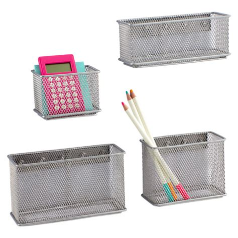 Cabinet Size Refrigerator Silver Magnetic Mesh Bins The Container Store