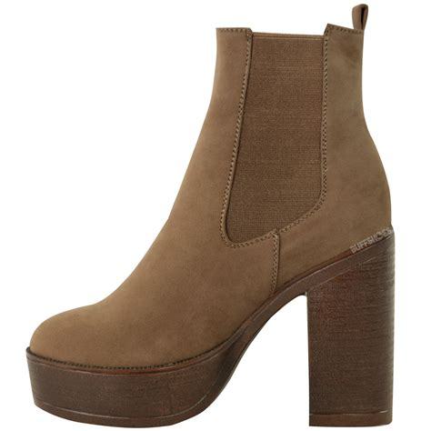 womens chelsea ankle boots slip on chunky platform