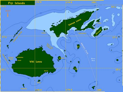 fiji islands map islands on the pacific map
