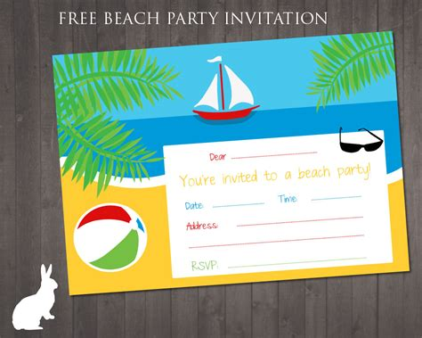 8 best images of free beach printable birthday invitations