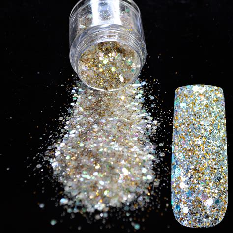 nail art glitter dust tutorial shining gold colorful nail glitter sequin white glitter