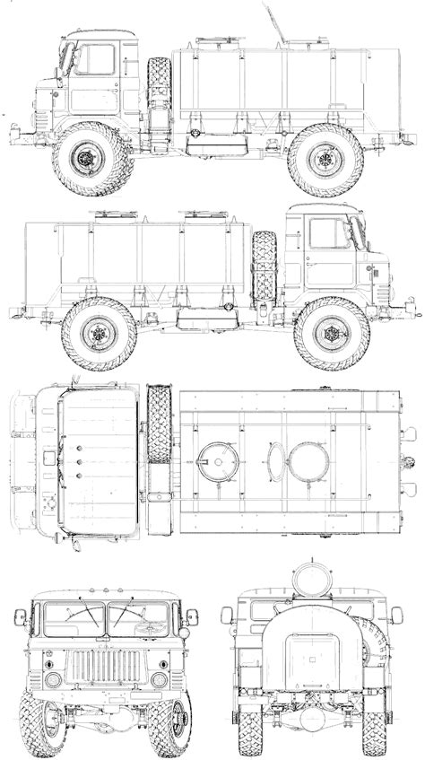 GAZ-66 1964 Blueprint - Download free blueprint for 3D