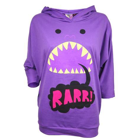 newbreed girl ladies rarr monster hoodie purple