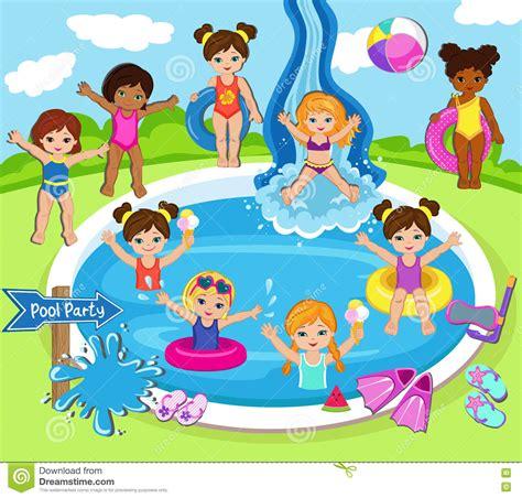 clipart bimbi illustrazione dei bambini hanno una festa in piscina