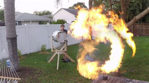 backyard scientist builds a giant fire vortex cannon